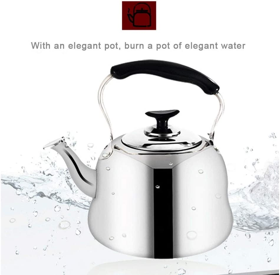 Hervidor De Agua 4L RUIMI Tetera De Hervidor De Agua Caliente con Silbato Cocina De Gas A Gas Hervidor De Agua De Acero Inoxidable Grueso