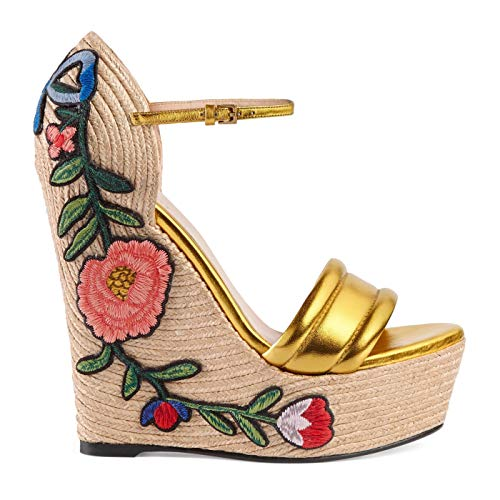 Gucci Women's Gold Leather Floral Embroidered Espadrille Wedges Shoes, Gold, 8