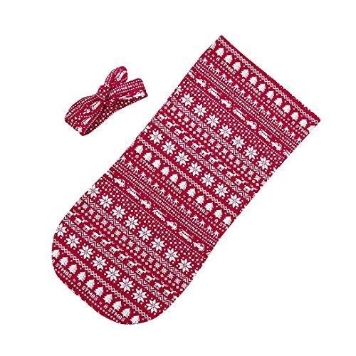 Kimanli Newborn Infant Baby Swaddle Christmas Blanket Sleeping Wrap+Headband Set (Red)