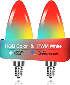 Luntak WiFi Candelabra Led Light Bulbs E12 Base, RGB Color Changing and Dimmable Smart Bulb Works with Alexa Google Home Siri Shortcut, Small Chandelier Light Bulb 300 lm 35 Watt Equivalent 2 Pack