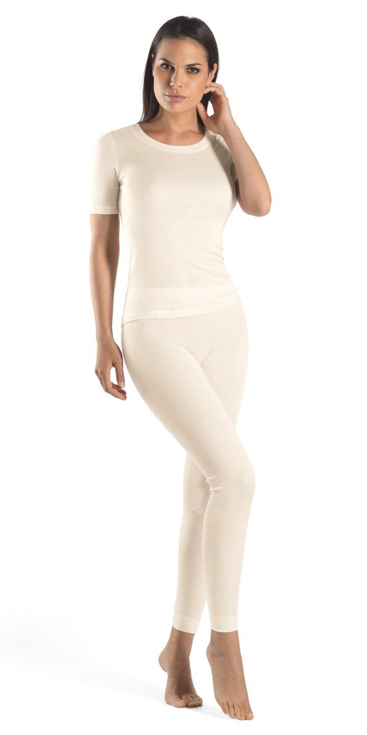 Hanro Women's Silk/Cashmere Short Sleeve Shirt 71654, Cygne, Large