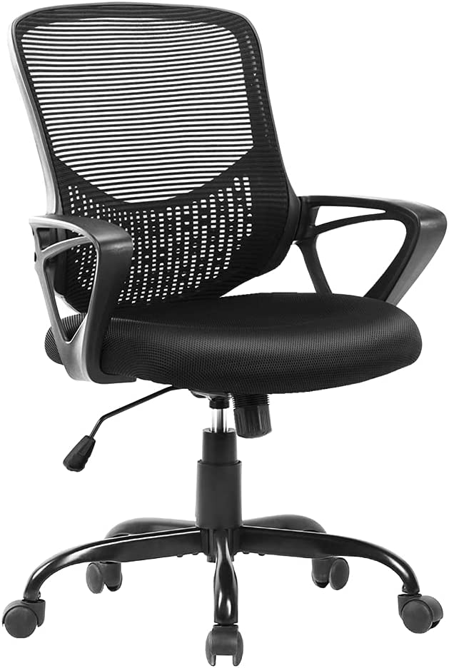 Office Chair, Ergonomic Desk Chair Computer Task Chair Mesh with Armrests Mid-Back for Home Office Conference Study Room, Black