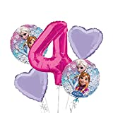 Frozen Balloon Bouquet 4th Birthday 5 pcs - Party Supplies