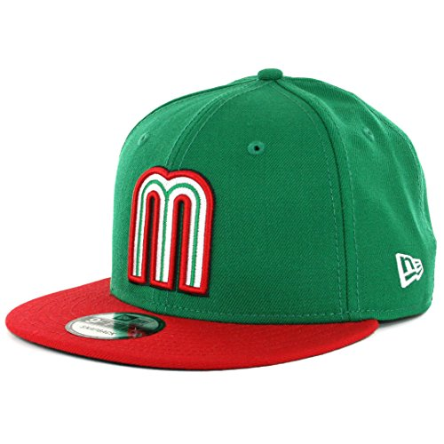 1 Fit New Hat Cap - New Era 9Fifty Snapback Mexico WBC Hat Cap One Size Fits Most Men (GREEN/RED, 1)