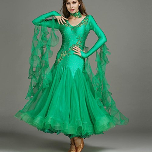 Abiti Ballo Da Danza 1 Maniche dei Pezzo Formazione Sala Paillettes Sequined Xl Spandex Cristalli Green Tulle Wqwlf Lunghe Rhinestones xl Tops Donna wIdqSSW8