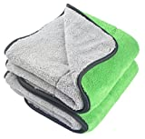 dry car wash towel - KinHwa Microfiber Car Cleaning Towels Ultra Thick Car Drying Towel Super Absorbent Car Wash Towels Drying Double Layers Plush 16Inch x 24Inch 2 Pack Green/Grey