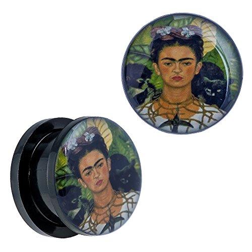 #Frida Khalo Print Design Screw Fit Black Acrylic Ear Plugs - 7/16
