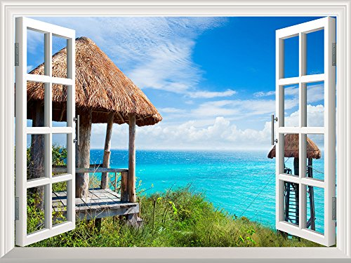 Removable Wall Sticker Wall Mural Beautiful Travel Holiday Resort Creative Window View Wall Decor