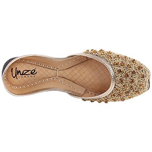 WS Unze Flachbild Pailletten 8 Größe JAANE Punjabi UK Khusa 3 Perlen Sandale Schwarz 91 on Tila Slip Frauen Mehndi Indische fxfrTFP