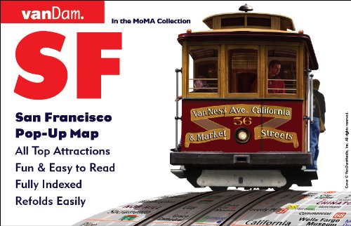 Pop-Up San Francisco Map by VanDam - City Street Map of San Francisco, California - Laminated folding pocket size city travel and Transit (BART, MUNI, CalTrain) Pop-Up Map, ()