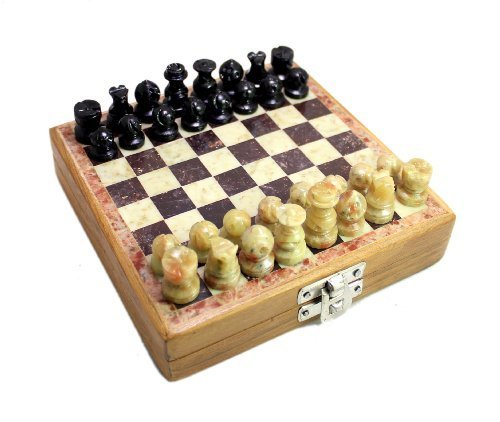 Classic Chess Inlaid Wood Board Game with Wooden Chess Set Marble Soft Stone 6.2″ by Krishna Mart