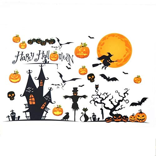 Genric Halloween Pumpkins Witch Wall Stickers Decals Removable