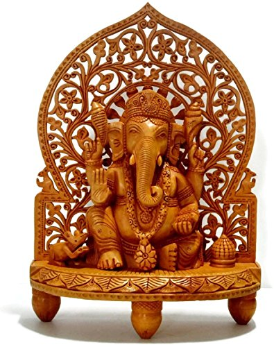 Statue Ganesh Carved - CraftVatika Large Ganesh Ganesha Idol Statue- Wooden Hand Carved Elephant Lord Ganesha Ganpati Temple Sculpture (10)