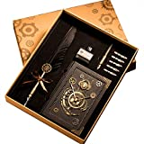 HENHEN Feather Quill Pen Set - 100% Hand Craft - Steampunk Quill Pen and Notebook Set, in Gift Box