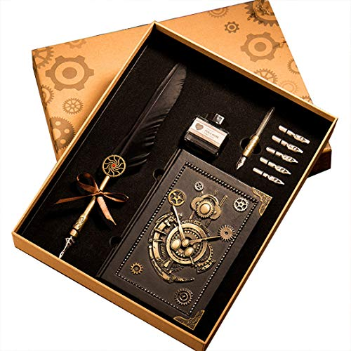 HENHEN Feather Quill Pen Set - 100% Hand Craft - Steampunk Quill Pen and Notebook Set, in Gift Box by HENHEN (Image #7)