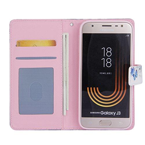 Funda Samsung Galaxy J330,SainCat Funda de Cuero PU Billetera Flip Case Cover Wallet sintético tipo Suave PU Carcasa Con Tapa y Cartera,Soporte Plegable,Estilo Libro,Ranuras para Tarjetas y Billetera  Mariposas