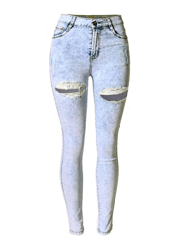 Jaycargogo Women Denim Destroyed High Waist Stretchy Pants Skinny Jeans