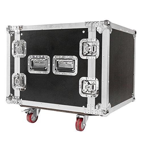 "Festnight DJ Mixer Case 10U Rack Space DJ Equipment Cabinet 19"" Double Door DJ Equipment Cabinet Heavy Duty Portable DJ Stand with Wheels Black -  ILB0670950409685LE"