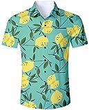 Goodstoworld Men's 3D Printed Casual Lemon Green Hawaiian Beach Holiday Aloha Button Down Floral Short Sleeve Shirt