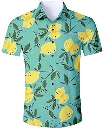 Summer Funny Hawaiian Shirt Flower Casual Lemon Button Down Vacation Beech Short Sleeve Aloha ()