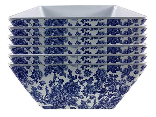 Melamine dinnerware, Square Bowl set of 6, ARC USA, 100% Melamine, FDA Safe, Elegant, Heavy Duty, 9