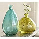 Vivaterra Recycled Glass Balloon Vases - Set of 2 - Tall 19 H x 10 dia. and Askew 13 H x 14 dia - Citron and Aqua