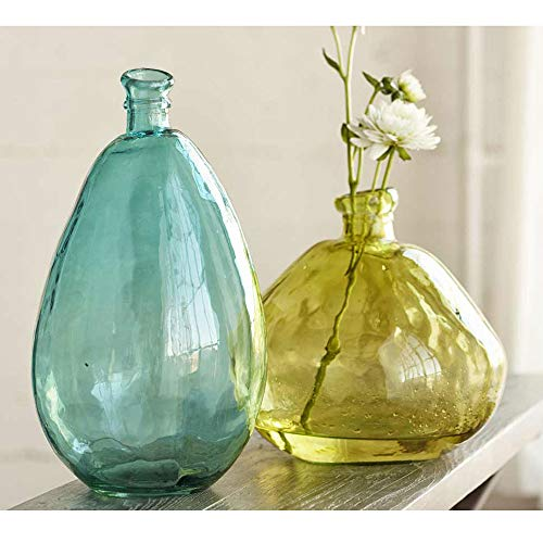 Vivaterra Recycled Glass Balloon Vases - Set of 2 - Tall 19 H x 10 dia. and Askew 13 H x 14 dia - Citron and Aqua by Vivaterra