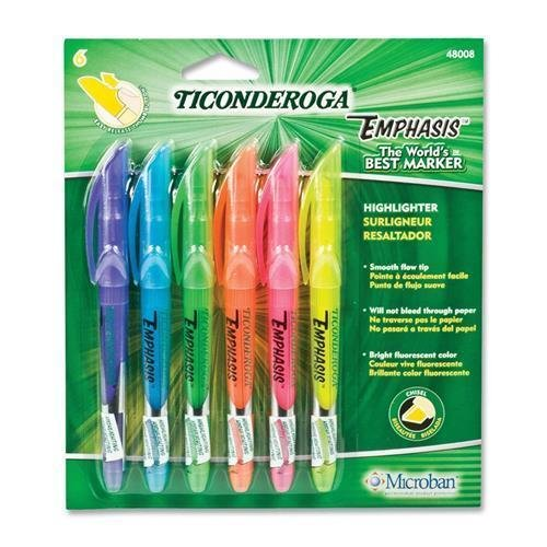 48008 Dixon Pocket Style Highlighter - Chisel Marker Point Style - Fluorescent Blue, Fluorescent Green, Fluorescent Orange, Fluorescent Pink, Fluorescent Purple, Fluorescent Yellow Ink - 6 / Set