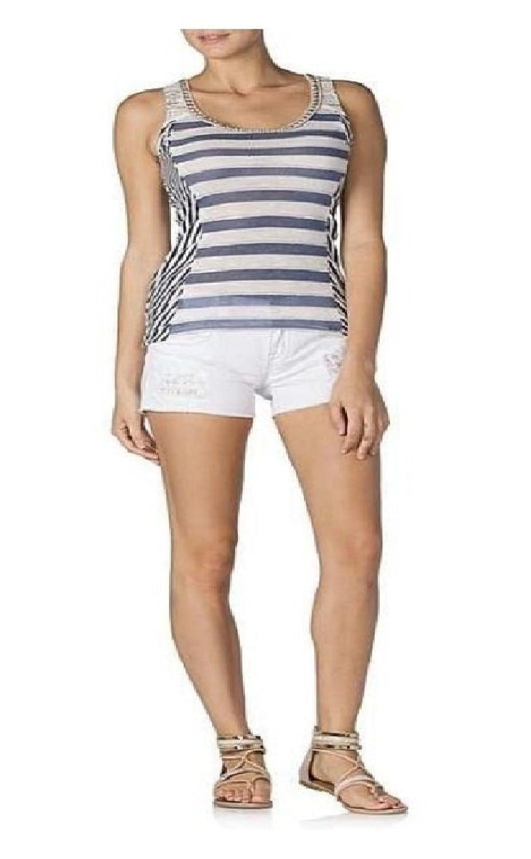 Miss Me Women's Striped Lace BK Tank