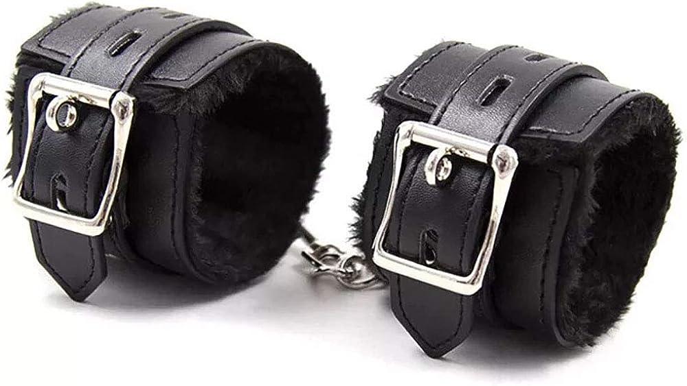BEUCETENG Multicolor Plush Lining Wrist Faux Leather Handcuffs Bracelets for Women Jewelry Gothic Adjustable Detachable Exercise Bands, Soft Leather Handcuffs Leg Cuffs for Home Yoga Gyms