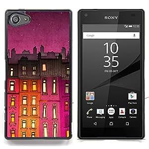 Stuss Case / Funda Carcasa protectora - Edificio de la noche púrpura Luces - Sony Xperia Z5 Compact Z5 Mini (Not for Normal Z5)