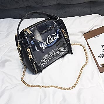KLXEB The Small Package Tide Female Bag Diagonal Package Single Chain  Shoulder Tote Bag Dark Transparent