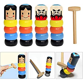 2Pcs Halloween for Kids Funny Wooden Magic Toy Immortal Stage Magic Props Lesgos Cute Little Jump Man with Unique Magic Tricks Unbreakable Wooden Man Magic Toy