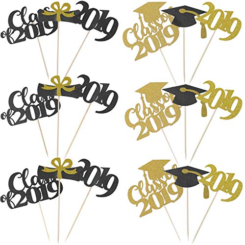 Elcoho 60 Pieces 2019 Graduation Cupcake Toppers Food Toothpick Toppers Appetizer Picks for Graduation Party Supplies -