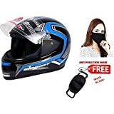 JMD HELMETS ELEGANT Decor D1 Full Face Helmet (Large, Black-Cyan Blue)