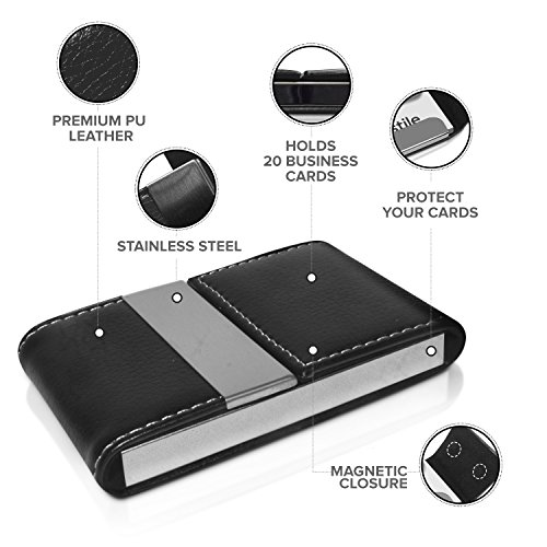 NICESTILE Business Card Holder, PU Leather Stainless Steel Name Card Case Holder with Magnetic Shut Double Sided Open (Black) by NICESTILE (Image #3)