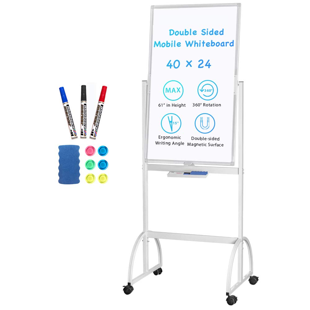 Magnetic Mobile White Board, 40 x 24 Double Sided Dry Erase Board Rolling Whiteboard Aluminum Frame Standing Whiteboard on Wheels