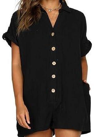 72541d3de1b Jotebriyo Women Button Down Pure Color Shirt Short Sleeve Short Jumpsuit  Romper Black US XS