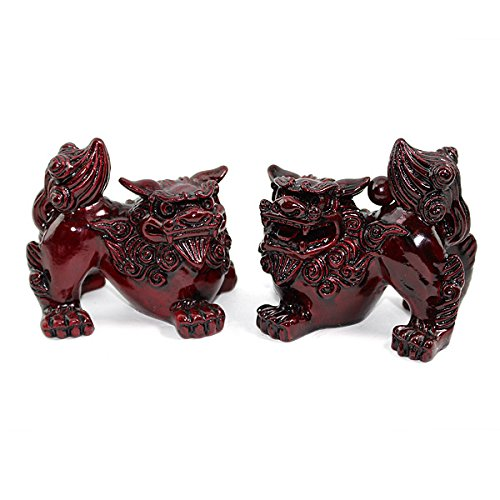 Feng Shui Red Fu Foo Dog Guardian Lions Wealth Protection Statue Figurine Housewarming Congratulatory Gift (Red Foo Dog 10278) (Chinese Sale For Lion Statue)
