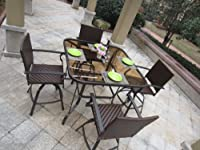 5pc Carlisle Outdoor Swivel Wicker Counter Height Bar Set by Pebble Lane Living