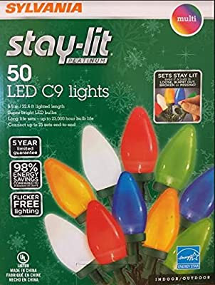 Sylvania Stay-Lit Platinum LED Indoor/Outdoor Christmas String Lights (Various Colors & Sizes)