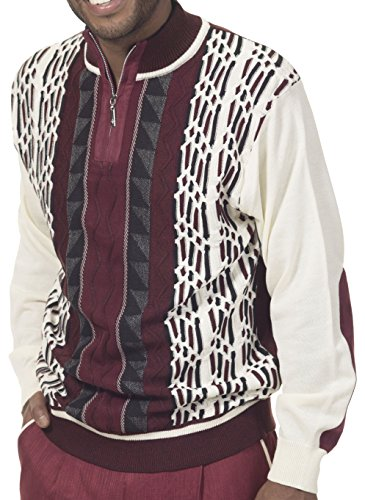 Designer Cardigan Sweater (Montique Quarter Zip Acrylic Knitted Plaid Men's Designer Sweater SW12 (XX-Large, Burgundy))
