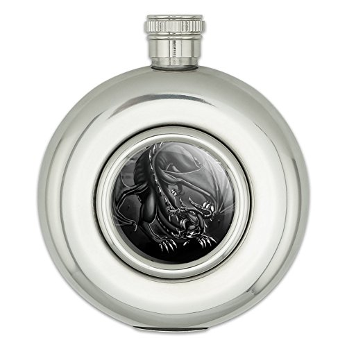 Round Stainless Steel 5oz Hip Flask Dragon Fantasy - Roar Medieval Black And White ()