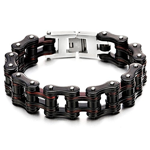 COOLSTEELANDBEYOND Masculine Mens Motorcycle Bike Chain Bracelet of Stainless Steel Black Brown Two-Tone High Polished
