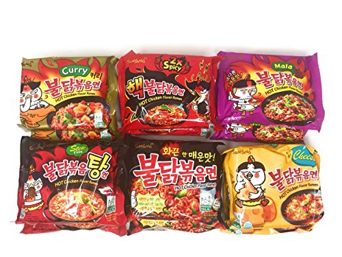 (Samyang Spicy Chicken Hot Ramen Noodle Buldak Variety Collection: Nuclear, Original, Cheese, Curry, Stew Type, and Mala)