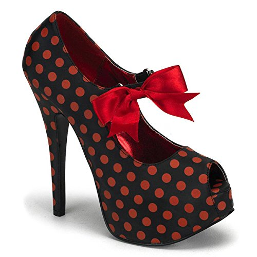 Womens Polka Dot Pumps Black Peep Toe Mary Jane Shoes Red White Bow 5 3/4 Inch Size: 6 Colors: Red ()