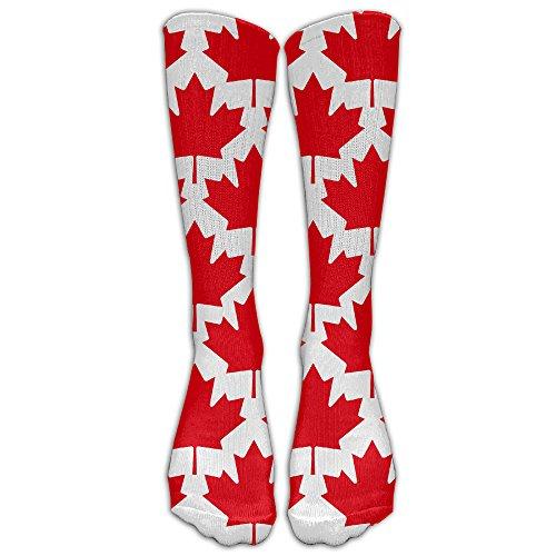 DaSOC Canada Maple Leaf Unisex Novelty Knee High Socks Athletic Tube Stockings One - Canada To Shipping Usps