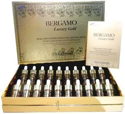 1 Box. Bergamo Luxury Gold Collagen & Caviar (Wrinkle Care Intense Repair Ampoule) Set 13ml. 20 Bottles.
