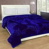 SRS Blue Floral Double Bed Mink Blanket with Complimentary Stylish Bag