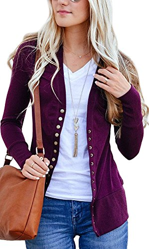 - Basic Faith Women's S-3XL V-Neck Button Down Knitwear Long Sleeve Soft Knit Casual Cardigan Sweater Plum XL